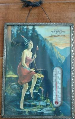 Vintage Advertising Thermometer Indian Maiden New Life Cafe Two Harbors Minn