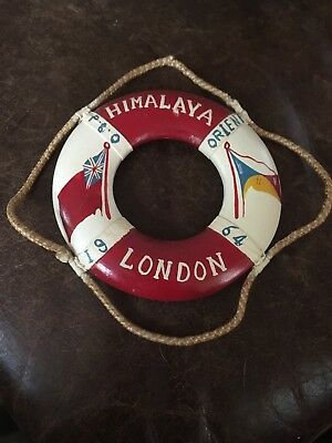 Vintage 1964 Miniature Wooden Life Buoy Ring London P&O Himalaya Orient
