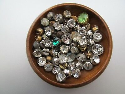 Vintage Lot 70 Small Metal & Rhinestone Buttons