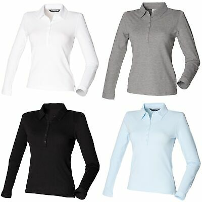 09ab45bad WOMENS LADIES CASUAL Skinni Fit Stretch Long Sleeve Polo Shirt Size ...