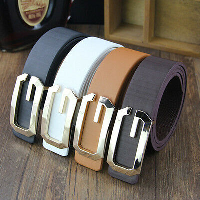 Fashion Men Women Leather Horse Buckle Smooth Casual Waist Strap Belt Waistband