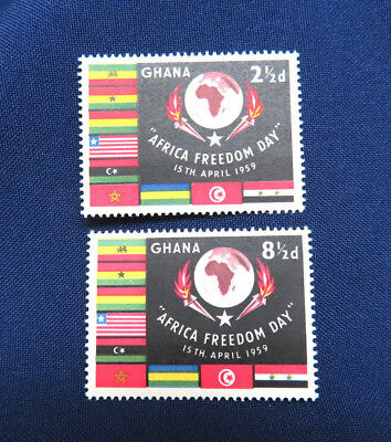 2 Ghana 1959 Postage Stamps ~ Africa Freedom Day ~ Mint Never Hinged