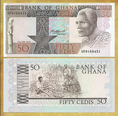 Ghana 50 Cedis 1979 Prefix AB P-22a Unc Currency Banknote ***USA SELLER***