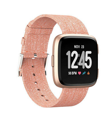Fabric Wrist Strap Watch Band Classic Stainless Buckle For Fitbit Versa