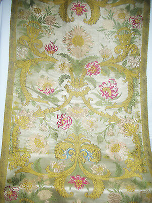 Antique  SILK Brocade Runner WITH Metallic Gold TRIM