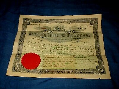 Wilkes-Barre Building And Loan Association-1895 Stock Certificate
