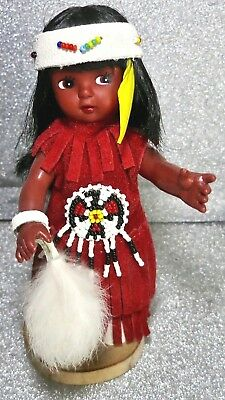 Canadian Indian Princess Doll on Wooden Stand- Leather w Beaded Outfit & Fur