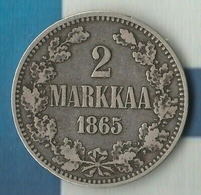 1865 Finland (Russian Occupied) 2 Markkaa- 86.8% silver- Only 203,000 Minted!!