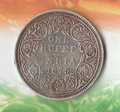 1875 British India~ Beauty and quality~ Rare Silver piece~ 1 Rupee~ 91.7% Pure