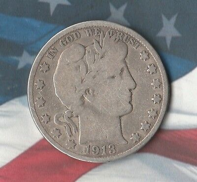 1913 Barber Half Dollar- 90% Silver- Key Date- Only 604,000 Minted