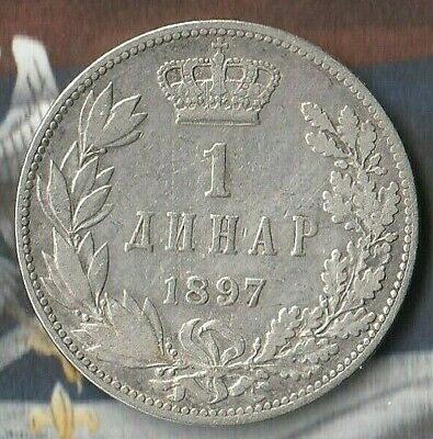 1897 Serbian 1 Dinar-  83.5% Silver coin from a former Communist Bloc Country