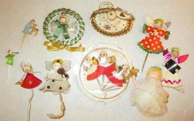 Vtg Antique Lot of  Pipe Cleaner Picks Angels Spun Cotton Christmas Ornaments