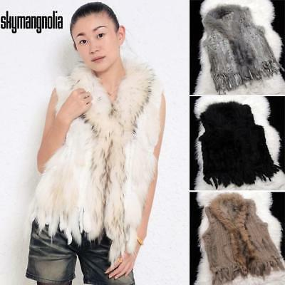 New Women Hot Fashion Knit Sleeveless Faux Fur Vest With Raccoon Fur s5nm