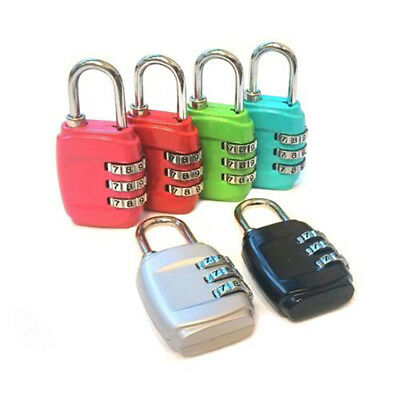 1x Resettable Mini 3 Digit Combination Lock Travel Luggage Suitcase Gym Padlock
