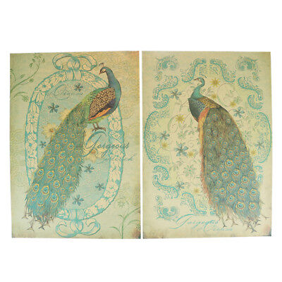 Peacock Wall Sticker Classic Bars Hotels Decoration Vintage Kraft Paper Poster H
