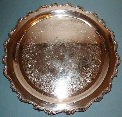 Silver Plate Rouind Serving Tray; Webster-Wilcox (IS), American Rose, #7372
