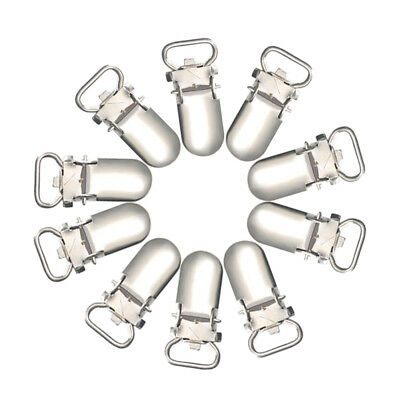 10/20pcs Metal Baby Holder Insert Pacifier Silver Tone Suspender Clips 10mm