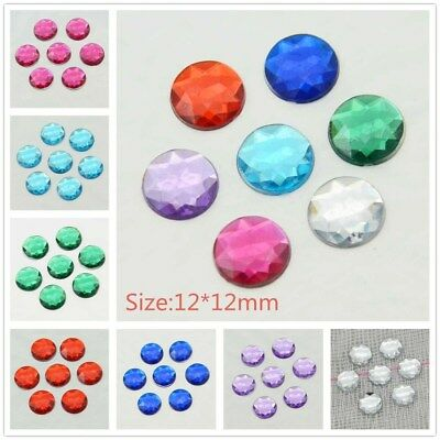 60Pcs 12mm Round Flat Back Acrylic Appliques/Craft/Wedding Decoration Diy