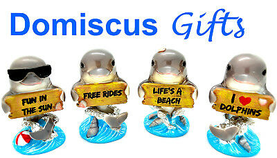 """3 1/4"""" NEW! Whimsical DOLPHINS Seven Seas Oceans COLLECTIBLE Figurines Set of 4"""
