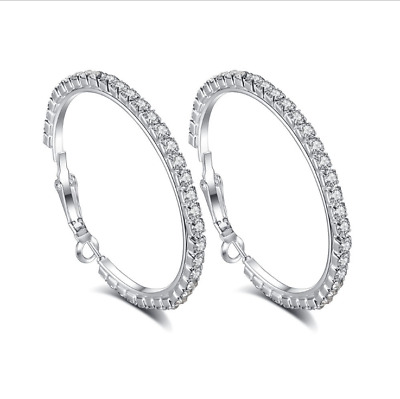 Stunning 18K White Solid Gold Filled Cubic Zirconia Womens Hoop Earrings,Z3115