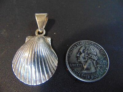 """Beautiful Vintage .925 Solid Sterling Silver Sea Shell Pendant Jewelry 1 3/4"""""""
