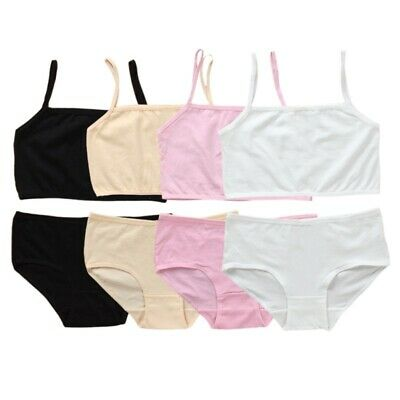 88ff4220a0 Girls Puberty Cotton Soft Bra+Pant Student Underwear Kids Training bras Set
