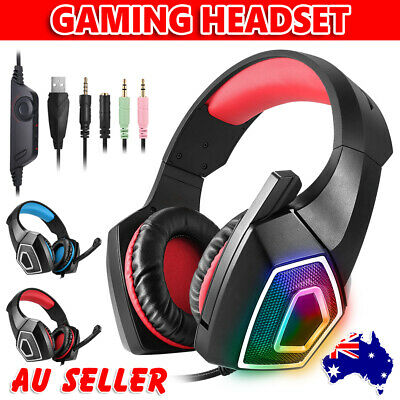 Gaming Headset MIC LED Headphones Surround for PC Mac PS4 Laptop Xbox One 3.5mm