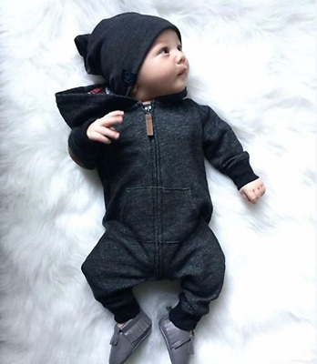 Warm Kids Clothes Baby Boy Infant Romper Jumpsuit Bodysuit Hooded Outfit Sweater