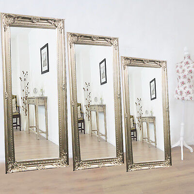 X Large Silver Antique Vintage Shabby Chic Style Decor Wall Floor Glass Mirror