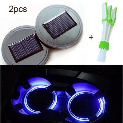 2PC Solar Cup Pad Car Accessories LED Light Cover Interior Decoration Lights F1