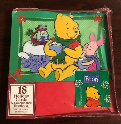 Walt Disney Winnie the Pooh & Piglet Holiday Cards - Set of 18, New in Box