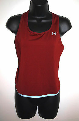 Under Armour Womens Size Small Athletic Top Burgandy with Blue Edging Racer Back