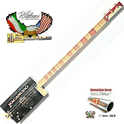 Cigar Box Guitar mod. MACANUDO, 3 corde, pick-up piezoelettrico tastiera slide.