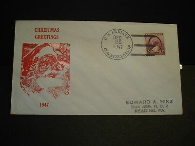 Frigate USS CONSTELLATION Naval Cover 1947 CHRISTMAS Cachet