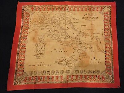 Antique WW1 Italian scarf with map. Bought back from Italy during WW11