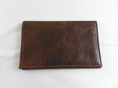 Vintage Real Leather Wallet Goat Skin Brown Made In England