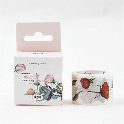 5m Flowers Floral Washi Tape Planner Scrapbook Notebook DIY Decorative Tape