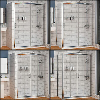 Sliding Shower Enclosure Door and Tray Walk In Cubicle Side Panel Stone Tray