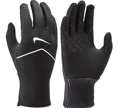 Nike Womens Dri-fit Sphere Running Training Gloves Black Silver Touch Screen