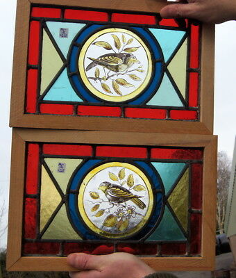 2 beautiful small painted stained glass windows
