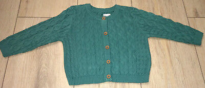 Marks & Spencer Green Aran Style Cardigan | 0-12 Months | Brand New