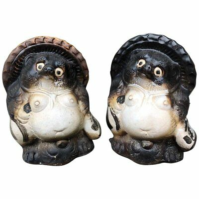 Japanese Pair Smiling Hero Tanukis Handmade Glazed Big Belly Sculptures