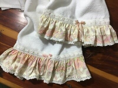 2 Soft barmoppy cotton towels with HM Fancy Ruffles from Moda Kashmir Cottons