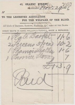 Small Billhead Invoice Leicester Association Fro The Welfare Of The Blind 1886