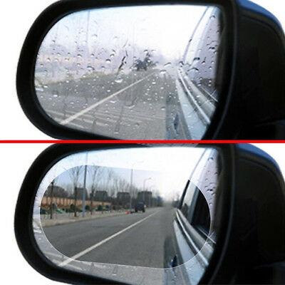 2Pcs Blue Oval Car Anti Fog Rainproof Rearview Mirror Protective Film Clear