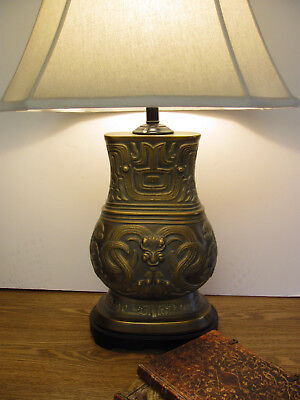 Lamp Mid Century Bronze Table Lamp Style of James Mont