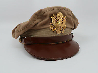 WWII US Officer dress uniform visor cap hat Army Air Corp force jacket tan khaki
