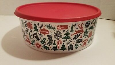 Tupperware TIS THE SEASON CHRISTMAS HOLIDAY COOKIE/SNACK CANISTER ~ BRAND NEW!