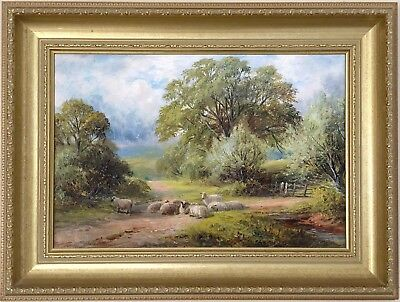 Sheep Grazing at Breedon Antique Oil Painting by George Turner (1843-1910)