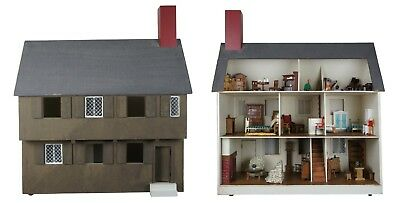 "Paul Revere 34"" Doll House & Furniture 73 Pc Vintage Wood Accessories Miniatures"